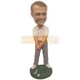 personalized custom golf player playing golf bobblehead