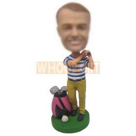 personalized custom golfer playing golf with clubs bobblehead