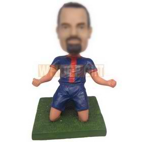 personalized custom soccer player celebrating goal bobblehead