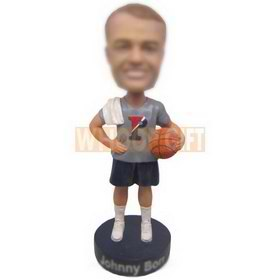 personalized basketball player wearing gray t-shirt with ball bobblehead