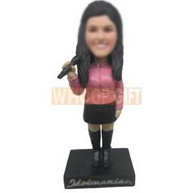 personalized female singer singing with mic in hand bobblehead