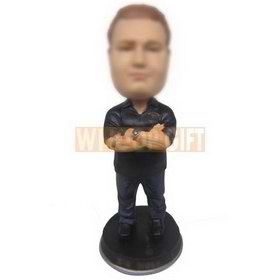 personalized man in paint-stained black polo shirt dark blue jeans