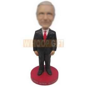 personalized manager in black suit white shirt red tie bobblehead