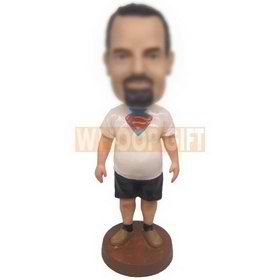 personalized custom man in white superman t-shirt bobblehead