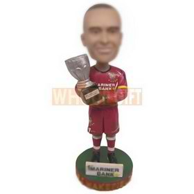 custom red jersey soccer player with a trophy in hand bobblehead