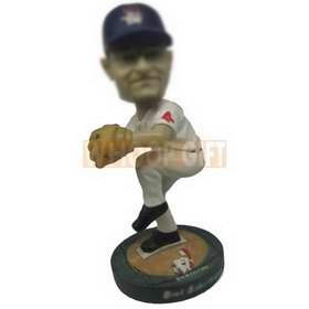 custom baseball player dressed in white jersey pitching ball bobblehead