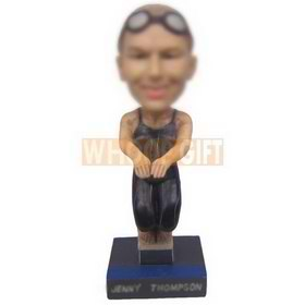 personalized female swimmer jumping into water bobblehead