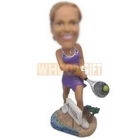 personalized custom tennis player playing tennis bobblehead