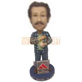 Custom bobblehead man in casual checked shirt with a baseball in hand