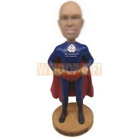 custom bobblehead superman style wearing tights and cape dolls
