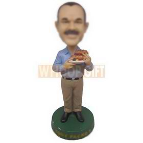 Custom bobblehead man in casual wear with hot dogs in hand