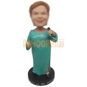 Custom bobbleheads lady singer with mic