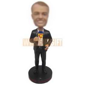 Custom bobblehead man in suit with a super man t-shirt