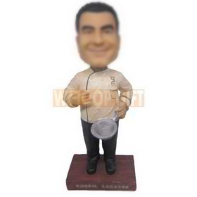 Custom bobbleheads cook wearing white chef uniform
