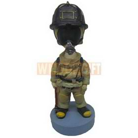 Custom bobblehead fire fighter wearing protection suit and fire mask