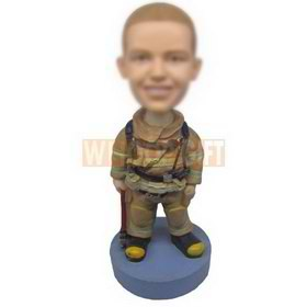 Personalized bobblehead firefighter wearing protection suit