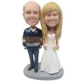 groom in navy uniform and bride in white wedding dress custom bobbleheads