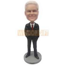 business man in black suit matching with red tie custom bobbleheads