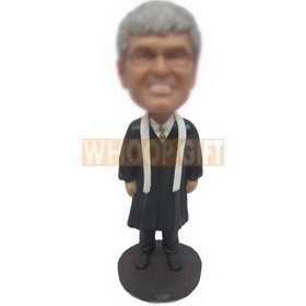 male priest in black long gown waring a pair of glasses custom bobbleheads
