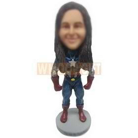 black long hair iron woman custom bobbleheads