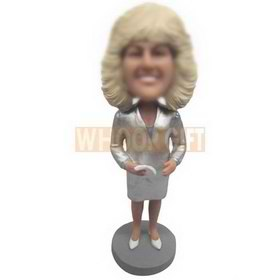 curly hair woman in silver dress custom bobbleheads