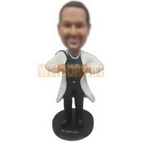 super male doctor in white doctor's overall custom bobbleheads