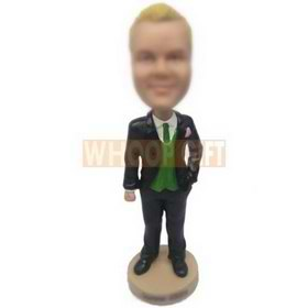 fashion man in black suit matching with a green tie custom bobbleheads