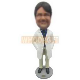 male doctor in doctor's overall wearing a pair of glasses custom bobbleheads
