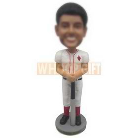 young man in baseball suit holding up with a baseball bat custom bobbleheads