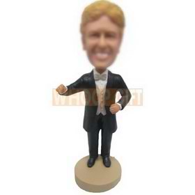 yellow hair man in black suit matching with a bowknot tie custom bobbleheads