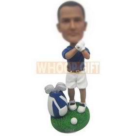 man in blue T-shirt matching with white shorts custom bobbleheads