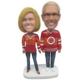 wife in red T-shirt and husband in red T-shirt custom bobbleheads