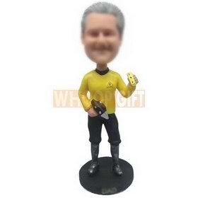 cool dad in yellow working suit handing up with a drill custom bobbleheads
