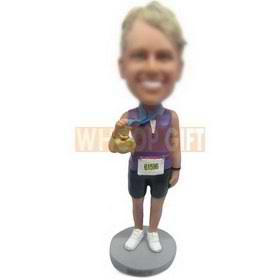 female athlete handing up with a medal custom bobbleheads