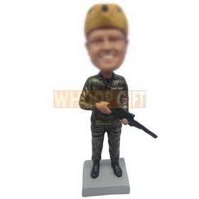 funny hunter wearing a bear cap handing up with a shotgun custom bobbleheads