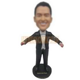 man in black suit opening his arms custom bobbleheads