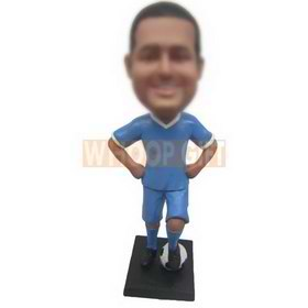 man in blue sports suit playing soccer custom bobbleheads