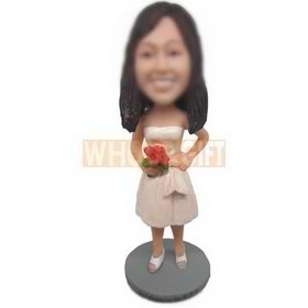 woman in dress handing up with a bunch of red flowers custom bobbleheads