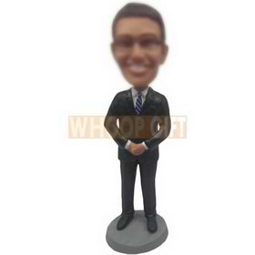 business man in black suit wearing a pair of glasses custom bobbleheads