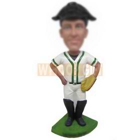 male baseball player in white sports suit custom bobbleheads