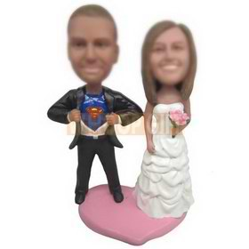 super groom in black suit and bride in white wedding dress custom bobbleheads