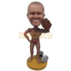 strong muscle man holding a dumbbell custom bobbleheads