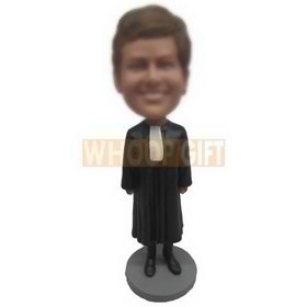 brown hair woman in black long dress custom bobbleheads