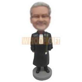 man in black overcoat handing up with a bag custom bobbleheads