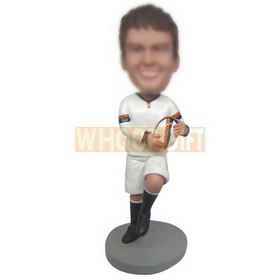 football player in white sports suit custom bobbleheads