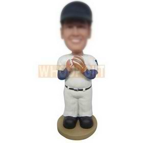 football player in white sports suit wearing a cap custom bobbleheads