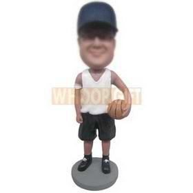 basketball player in white vest matching with black shorts custom bobbleheads