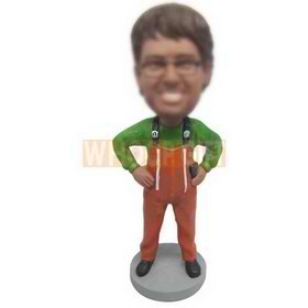 cute man in green T-shirt matching with orange pants custom bobbleheads