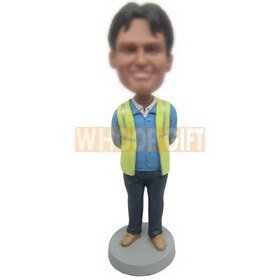 man in blue T-shirt matching with green waistcoat custom bobbleheads