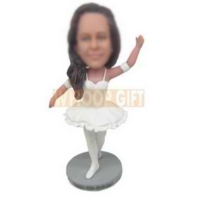 long hair woman dancing ballet in white dress custom bobbleheads